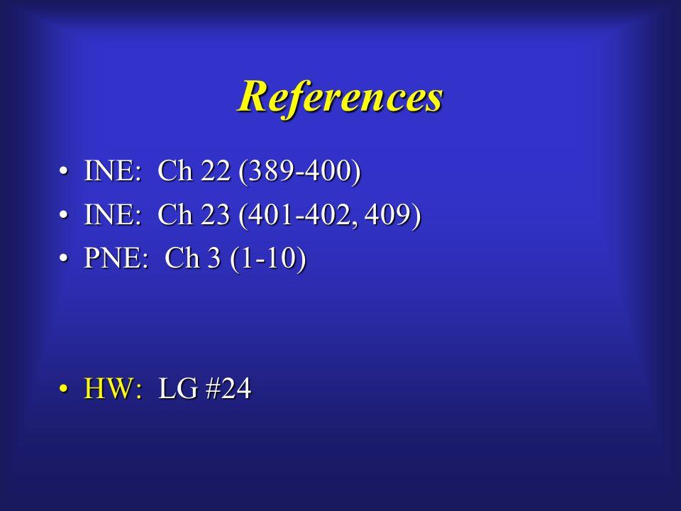 References INE: Ch 22 (389-400)INE: Ch 22 (389-400) INE: Ch 23 (401-402, 409)INE: Ch 23 (401-402, 409) PNE: Ch 3 (1-10)PNE: Ch 3 (1-10) HW: LG #24HW: LG #24