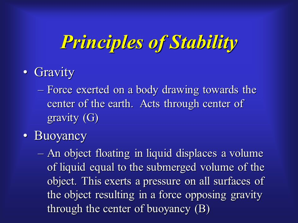 Principles of Stability GravityGravity –Force exerted on a body drawing towards the center of the earth.