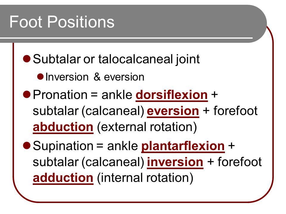 Foot Positions Subtalar or talocalcaneal joint Inversion & eversion Pronation = ankle dorsiflexion + subtalar (calcaneal) eversion + forefoot abduction (external rotation) Supination = ankle plantarflexion + subtalar (calcaneal) inversion + forefoot adduction (internal rotation)