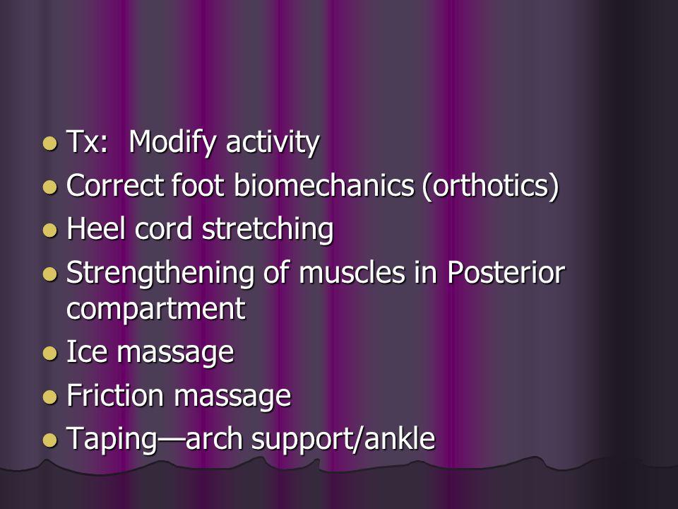 Tx: Modify activity Tx: Modify activity Correct foot biomechanics (orthotics) Correct foot biomechanics (orthotics) Heel cord stretching Heel cord str