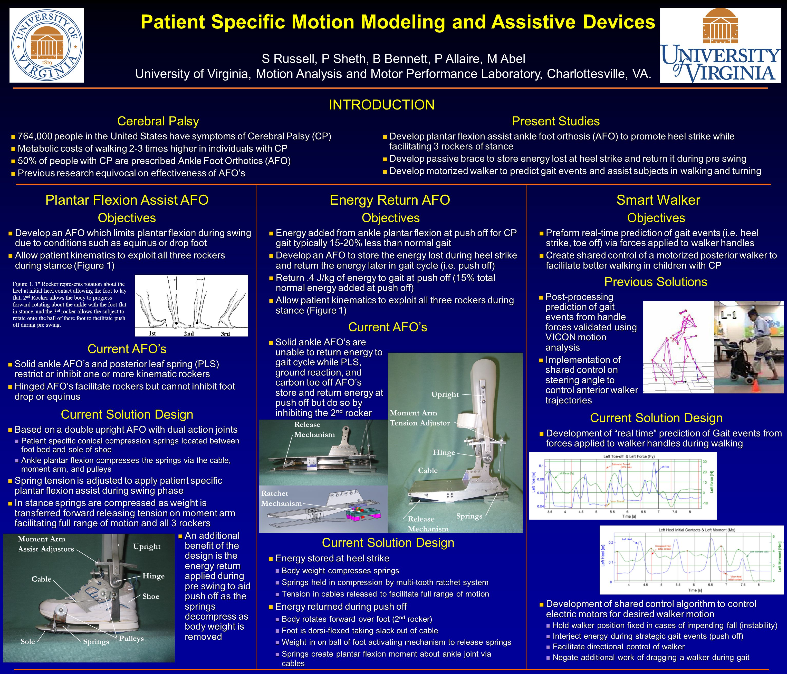 Present Studies Patient Specific Motion Modeling and Assistive Devices S Russell, P Sheth, B Bennett, P Allaire, M Abel University of Virginia, Motion Analysis and Motor Performance Laboratory, Charlottesville, VA.