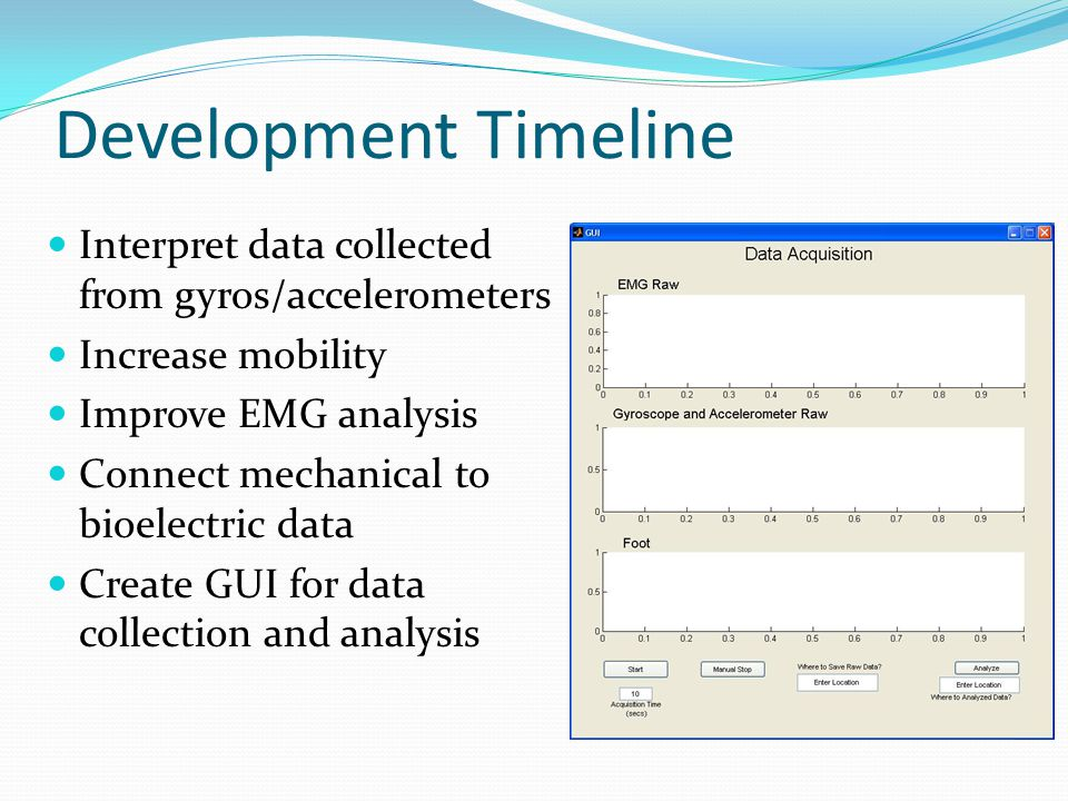 Development Timeline Interpret data collected from gyros/accelerometers Increase mobility Improve EMG analysis Connect mechanical to bioelectric data Create GUI for data collection and analysis