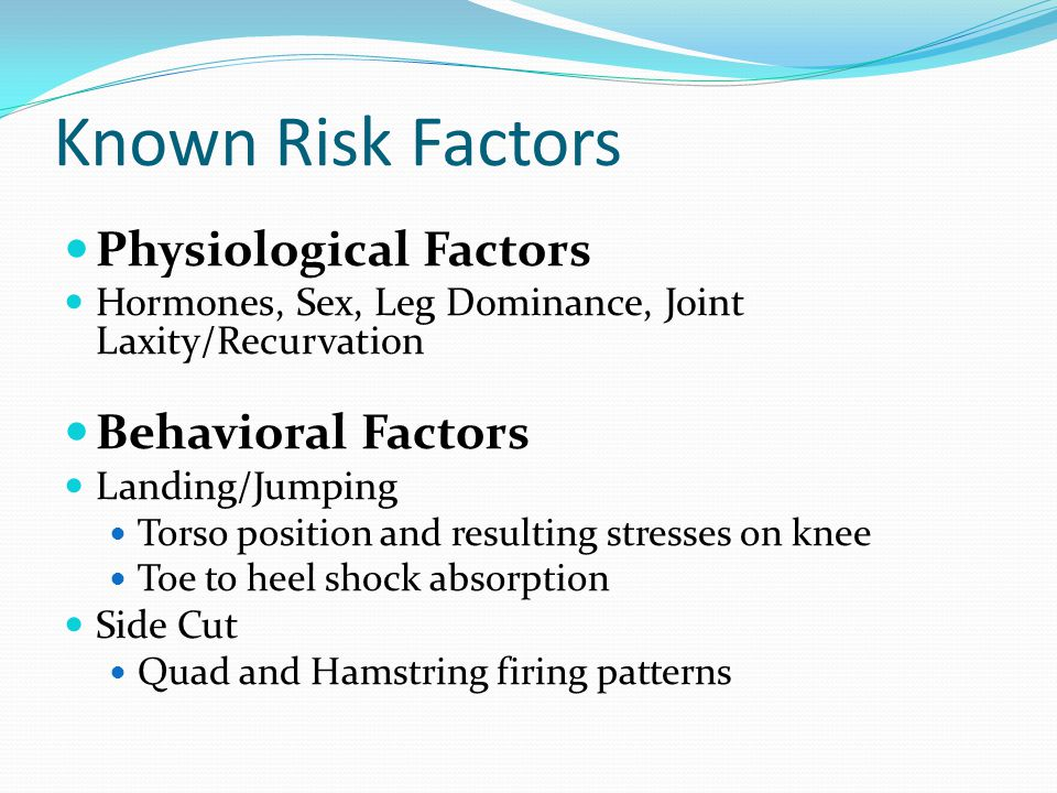 Known Risk Factors Physiological Factors Hormones, Sex, Leg Dominance, Joint Laxity/Recurvation Behavioral Factors Landing/Jumping Torso position and resulting stresses on knee Toe to heel shock absorption Side Cut Quad and Hamstring firing patterns