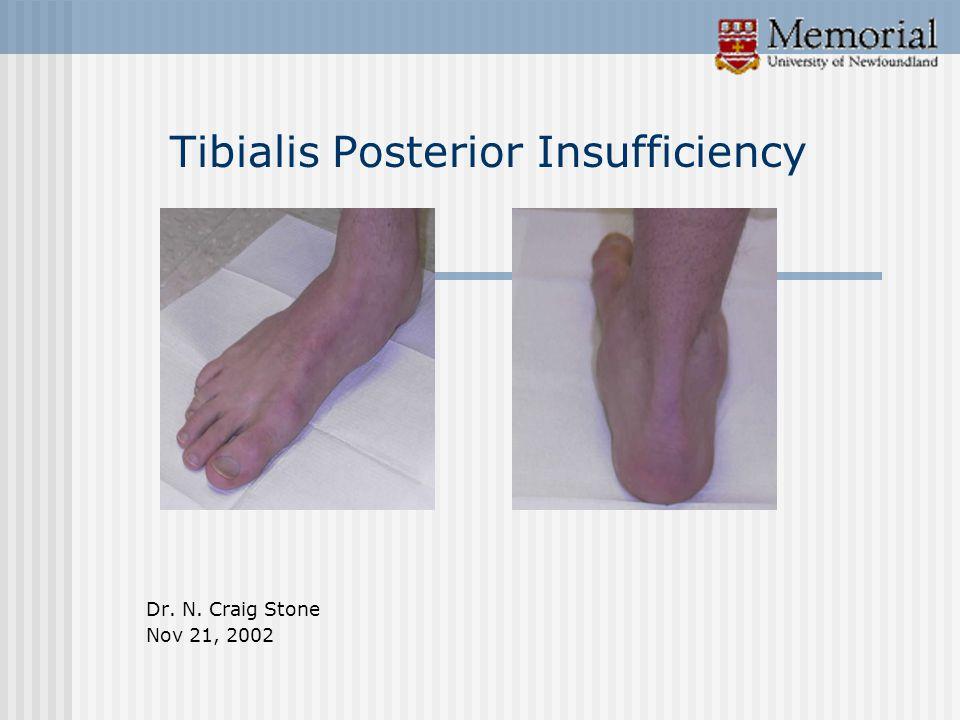 Tibialis Posterior Insufficiency Dr. N. Craig Stone Nov 21, 2002