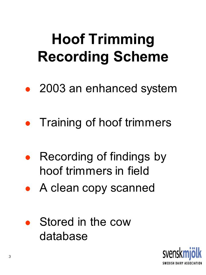 14 SUMMARY The quality of hoof trimming records is very god Genetic evaluation of sires for hoof diseases is possible Correlation with leg and feet conformation seems to be low Economic value need to be assessed
