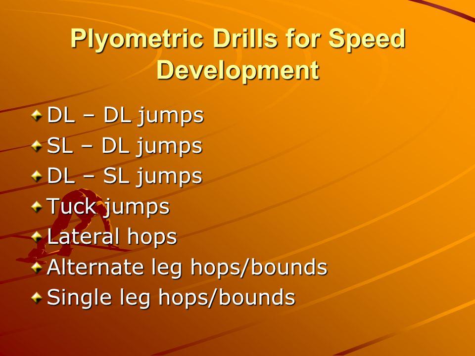 Plyometric Drills for Speed Development DL – DL jumps SL – DL jumps DL – SL jumps Tuck jumps Lateral hops Alternate leg hops/bounds Single leg hops/bounds