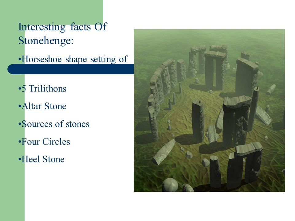 Interesting facts Of Stonehenge: Horseshoe shape setting of stones 5 Trilithons Altar Stone Sources of stones Four Circles Heel Stone