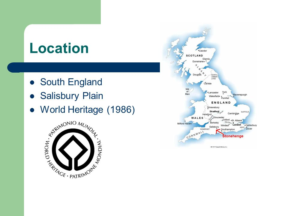 Location South England Salisbury Plain World Heritage (1986)