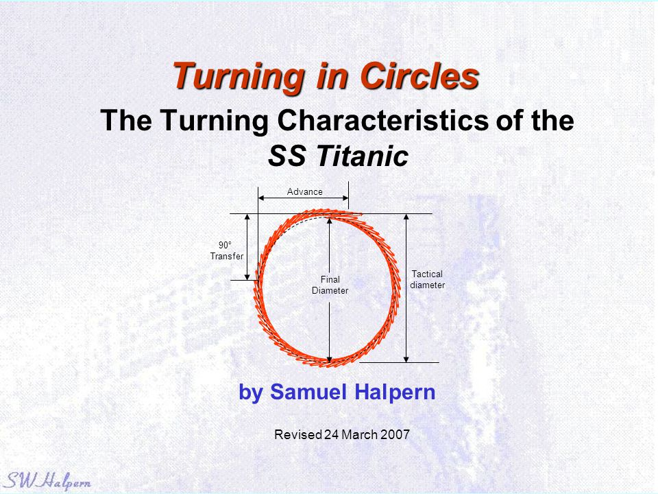 Turning in Circles The Turning Characteristics of the SS Titanic by Samuel Halpern Advance Tactical diameter 90° Transfer Final Diameter Revised 24 Ma