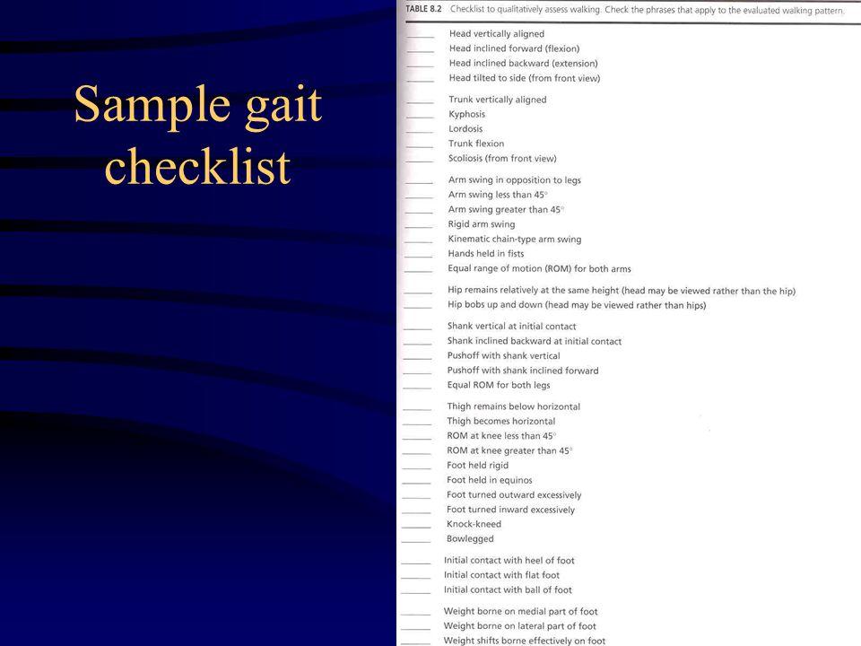 Sample gait checklist