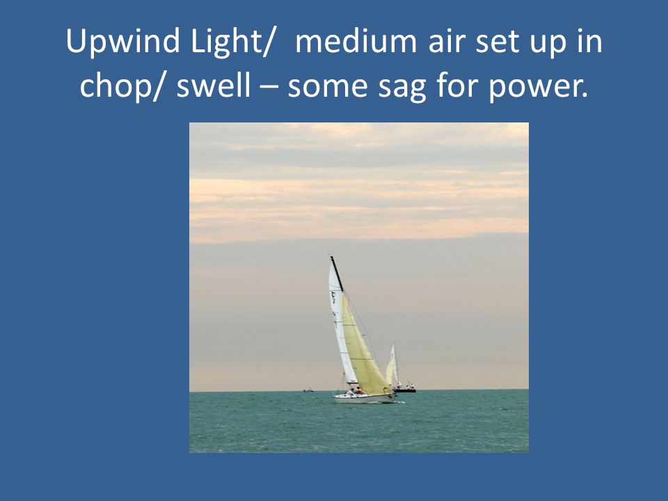 Upwind Light/ medium air set up in chop/ swell – some sag for power.