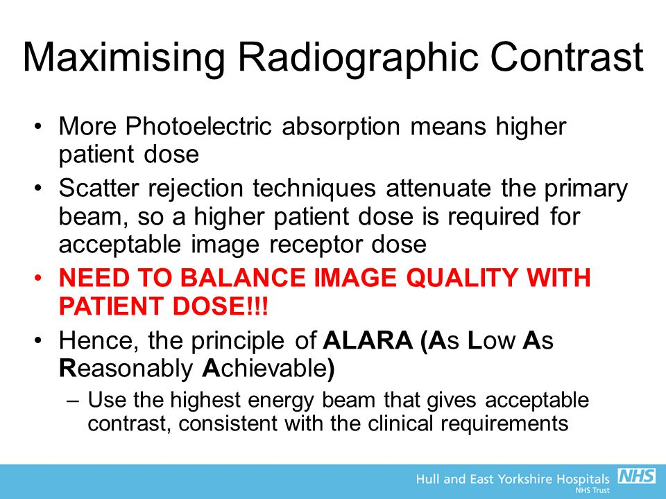 Maximising Radiographic Contrast More Photoelectric absorption means higher patient dose Scatter rejection techniques attenuate the primary beam, so a