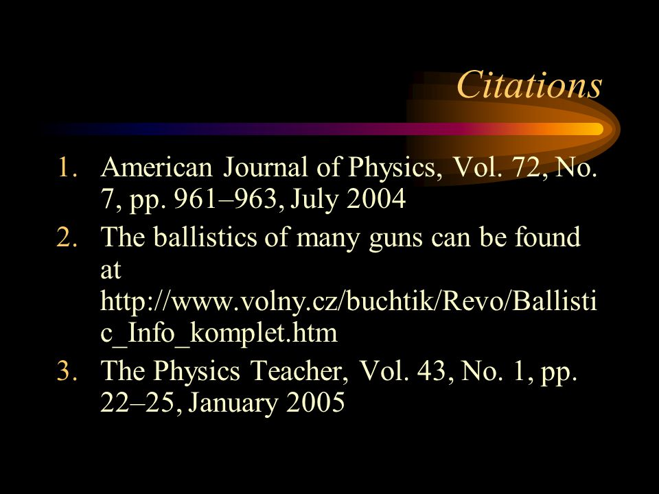 Citations 1.American Journal of Physics, Vol.72, No.