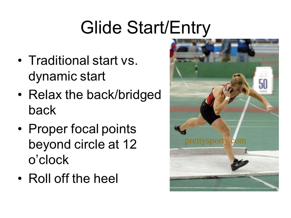 Glide Start/Entry Traditional start vs. dynamic start Relax the back/bridged back Proper focal points beyond circle at 12 o'clock Roll off the heel