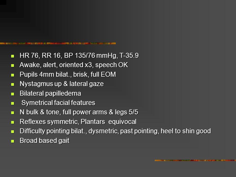 HR 76, RR 16, BP 135/76 mmHg, T-35.9 HR 76, RR 16, BP 135/76 mmHg, T-35.9 Awake, alert, oriented x3, speech OK Awake, alert, oriented x3, speech OK Pu