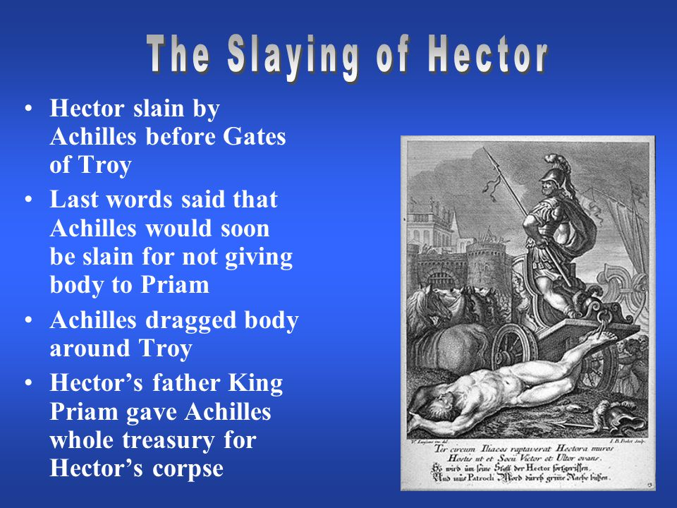 Hector slain by Achilles before Gates of Troy Last words said that Achilles would soon be slain for not giving body to Priam Achilles dragged body around Troy Hector's father King Priam gave Achilles whole treasury for Hector's corpse