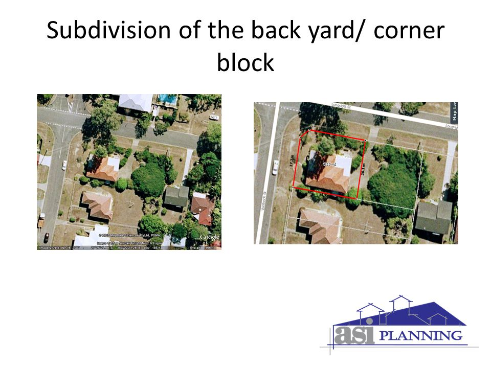 Subdivision of the back yard/ corner block