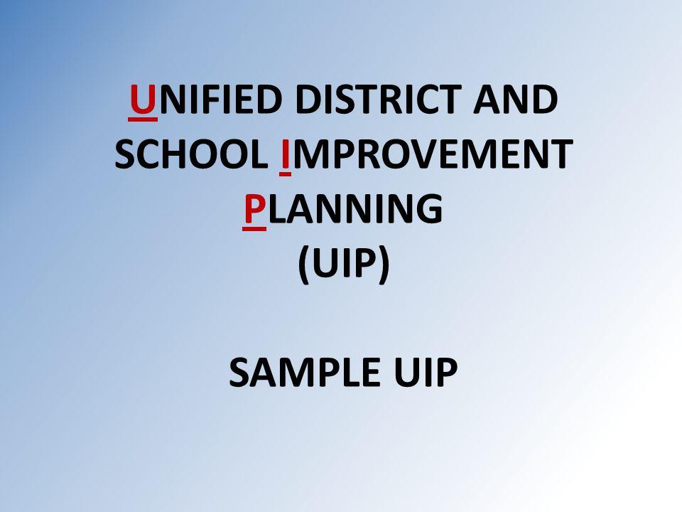 UNIFIED DISTRICT AND SCHOOL IMPROVEMENT PLANNING (UIP) SAMPLE UIP