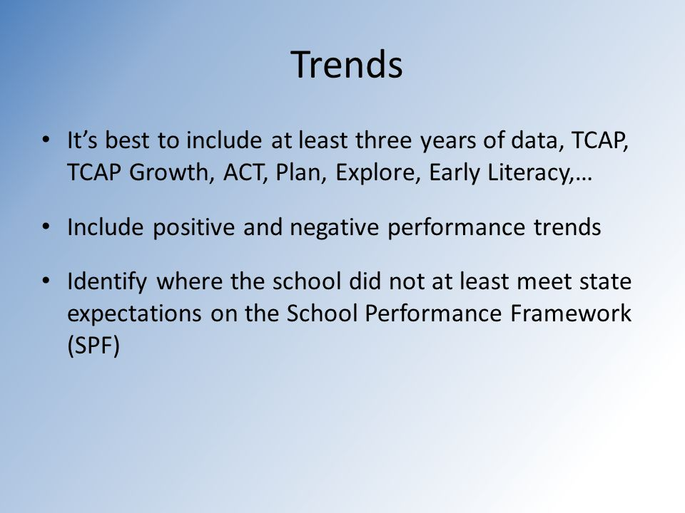 Trends It's best to include at least three years of data, TCAP, TCAP Growth, ACT, Plan, Explore, Early Literacy,… Include positive and negative performance trends Identify where the school did not at least meet state expectations on the School Performance Framework (SPF)