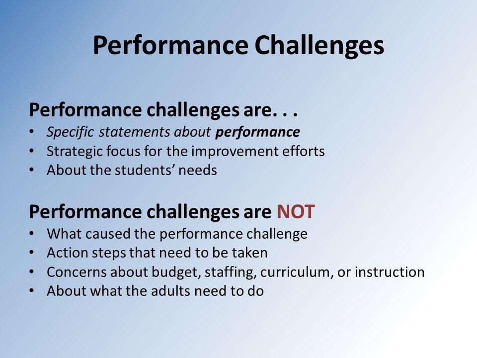 Performance Challenges Performance challenges are...