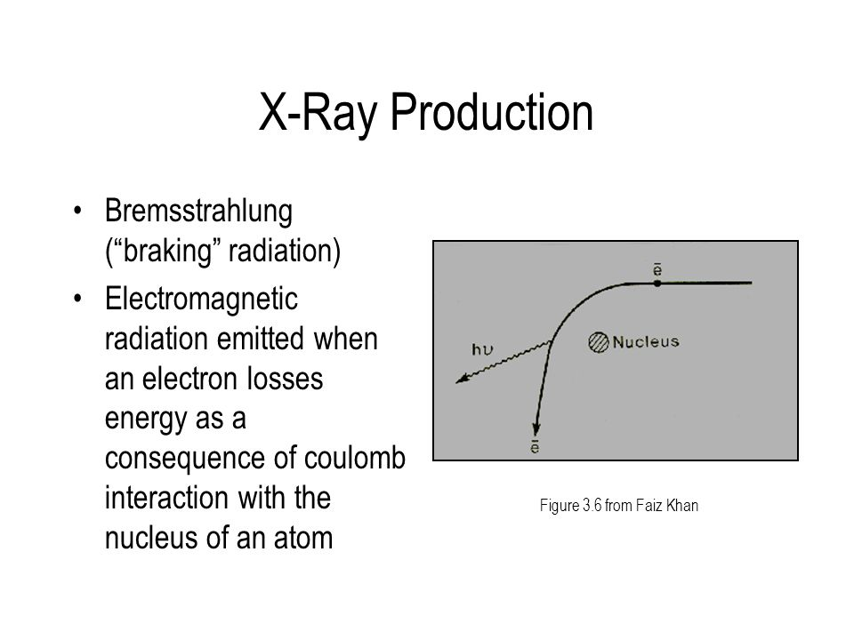 """X-Ray Production Bremsstrahlung (""""braking"""" radiation) Electromagnetic radiation emitted when an electron losses energy as a consequence of coulomb int"""