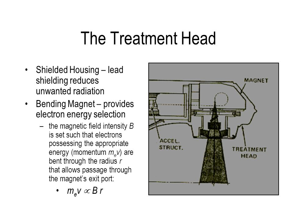 The Treatment Head Shielded Housing – lead shielding reduces unwanted radiation Bending Magnet – provides electron energy selection –the magnetic fiel