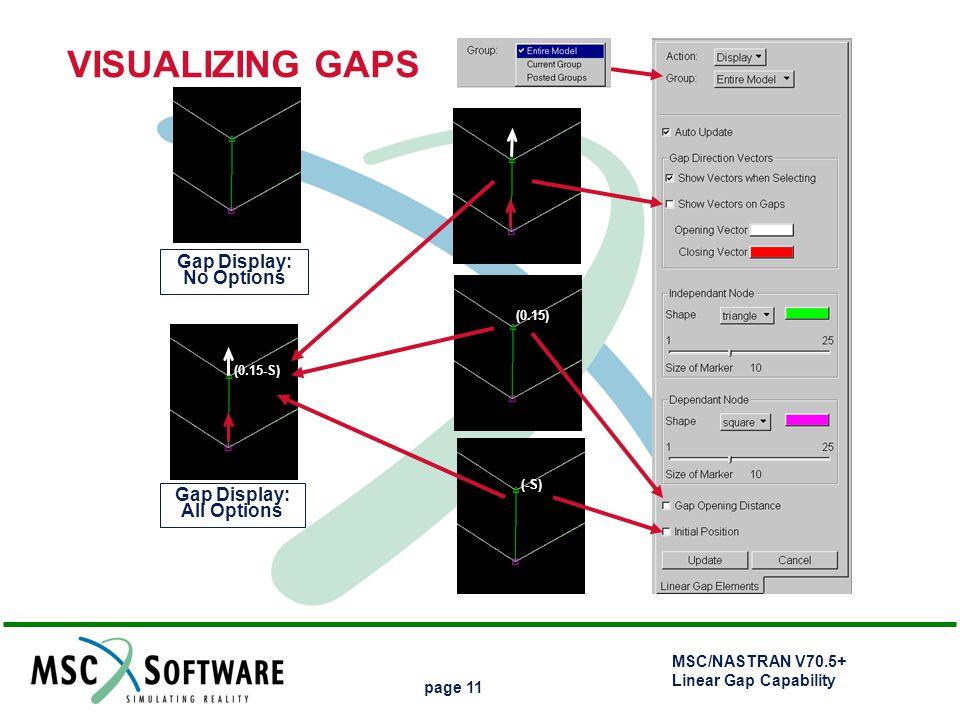 MSC/NASTRAN V70.5+ Linear Gap Capability page 11 Gap Display: No Options Gap Display: All Options (0.15) (0.15-S) (-S) VISUALIZING GAPS