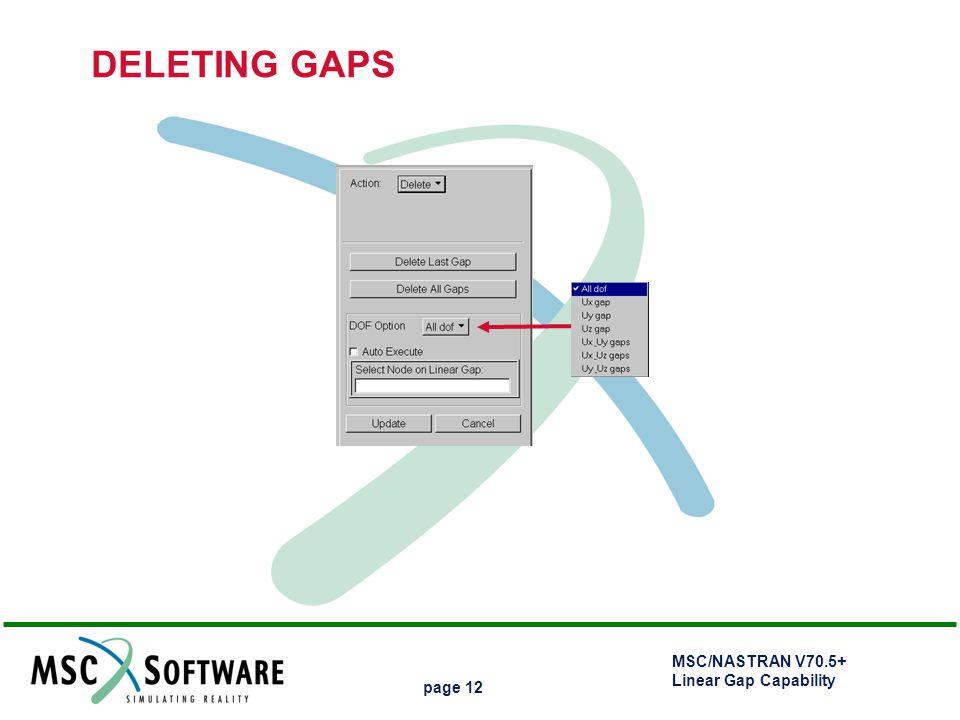 MSC/NASTRAN V70.5+ Linear Gap Capability page 12 DELETING GAPS