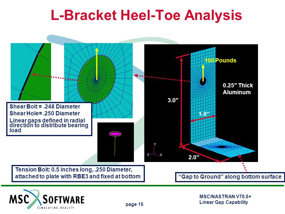 "MSC/NASTRAN V70.5+ Linear Gap Capability page 15 L-Bracket Heel-Toe Analysis 1.0"" 3.0"" 2.0"" 0.25"" Thick Aluminum 100 Pounds Shear Bolt =.248 Diameter"