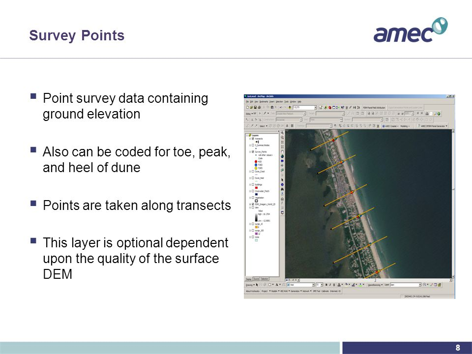 8 Survey Points  Point survey data containing ground elevation  Also can be coded for toe, peak, and heel of dune  Points are taken along transects  This layer is optional dependent upon the quality of the surface DEM