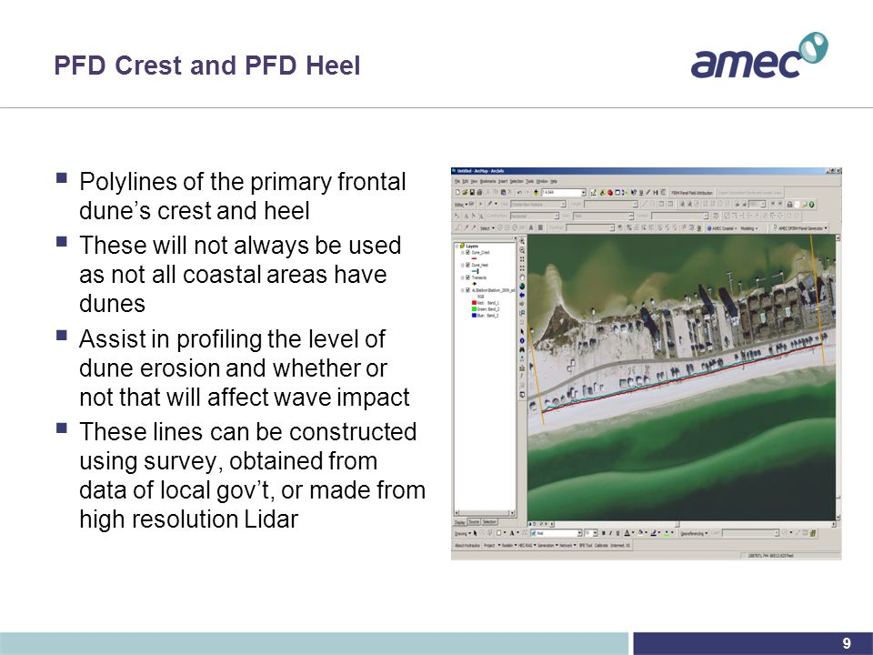 9 PFD Crest and PFD Heel  Polylines of the primary frontal dune's crest and heel  These will not always be used as not all coastal areas have dunes