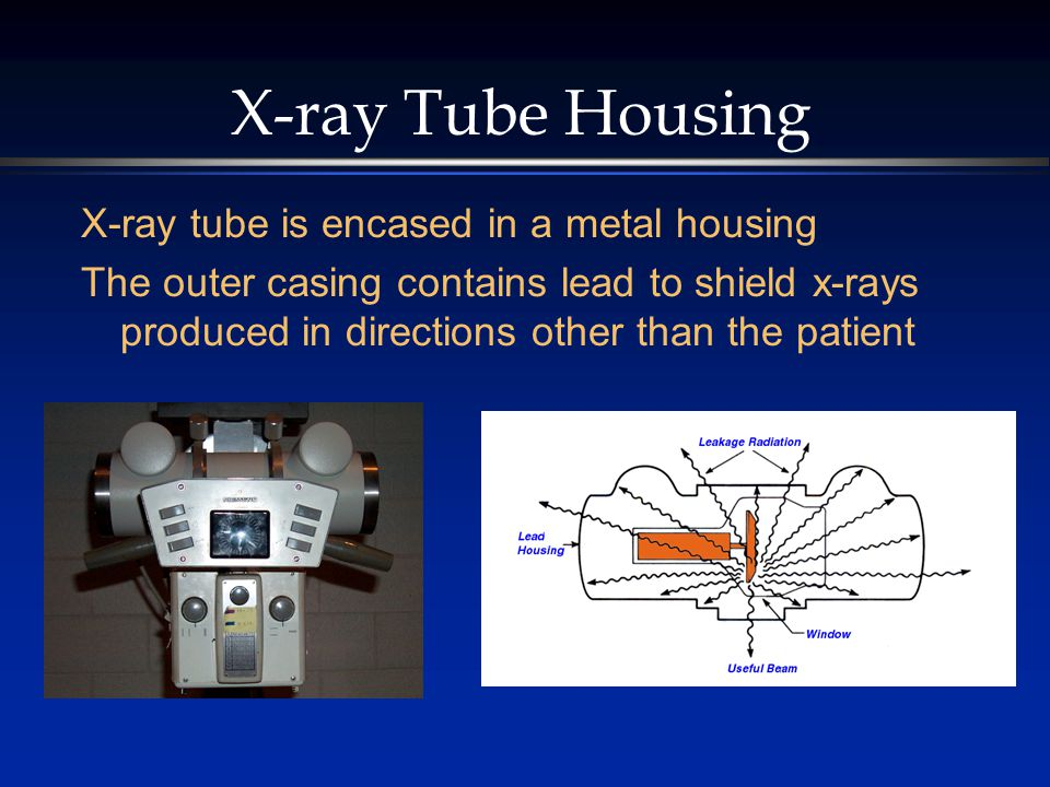 X-ray Tube Housing X-ray tube is encased in a metal housing The outer casing contains lead to shield x-rays produced in directions other than the pati
