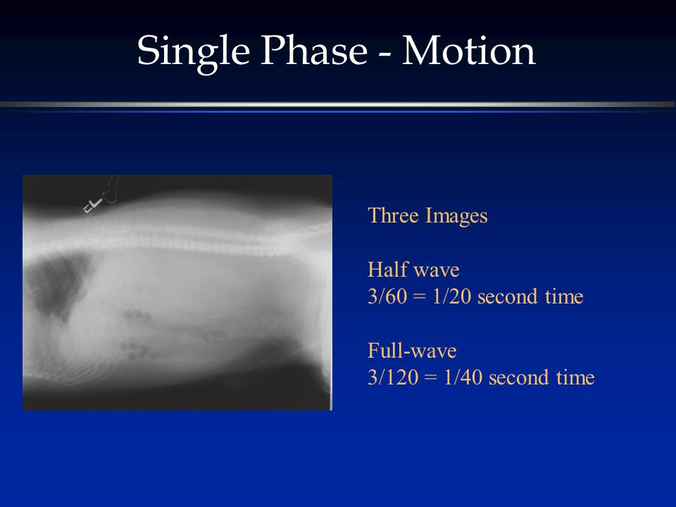 Single Phase - Motion Three Images Half wave 3/60 = 1/20 second time Full-wave 3/120 = 1/40 second time
