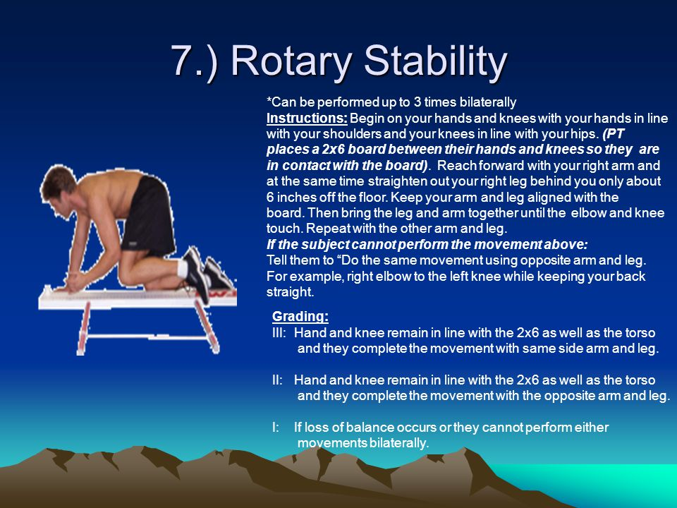 7.) Rotary Stability *Can be performed up to 3 times bilaterally Instructions: Begin on your hands and knees with your hands in line with your shoulders and your knees in line with your hips.