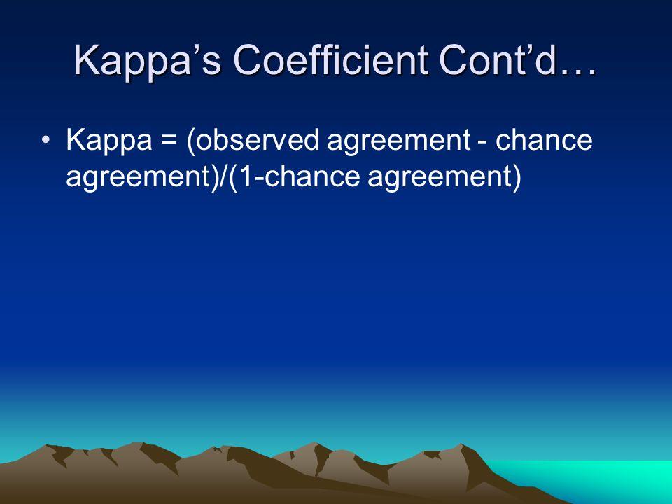 Kappa's Coefficient Cont'd… Kappa = (observed agreement - chance agreement)/(1-chance agreement)