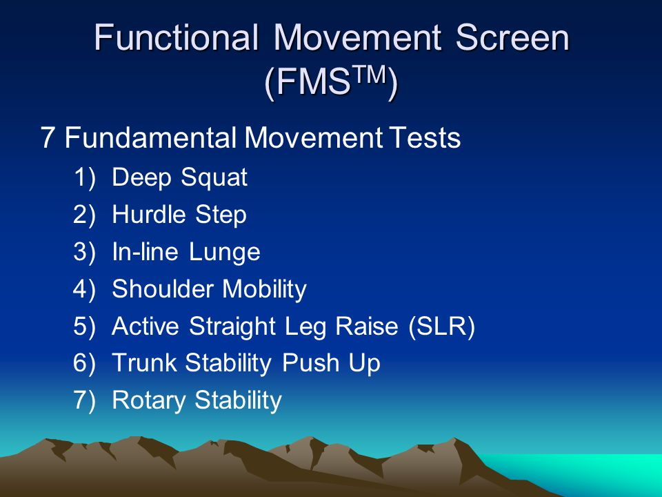 Functional Movement Screen (FMS TM ) 7 Fundamental Movement Tests 1)Deep Squat 2)Hurdle Step 3)In-line Lunge 4)Shoulder Mobility 5)Active Straight Leg