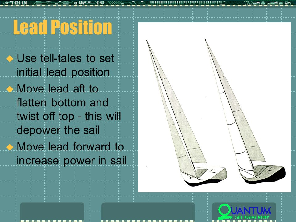 Lead Position u Use tell-tales to set initial lead position u Move lead aft to flatten bottom and twist off top - this will depower the sail u Move lead forward to increase power in sail