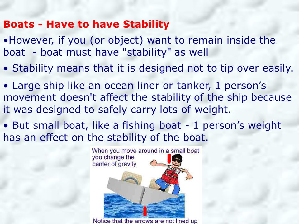 Boats - Have to have Stability However, if you (or object) want to remain inside the boat - boat must have