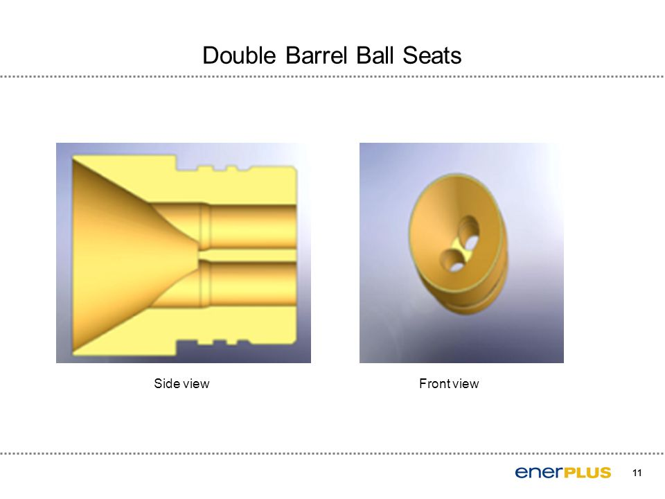 11 Double Barrel Ball Seats Side view Front view