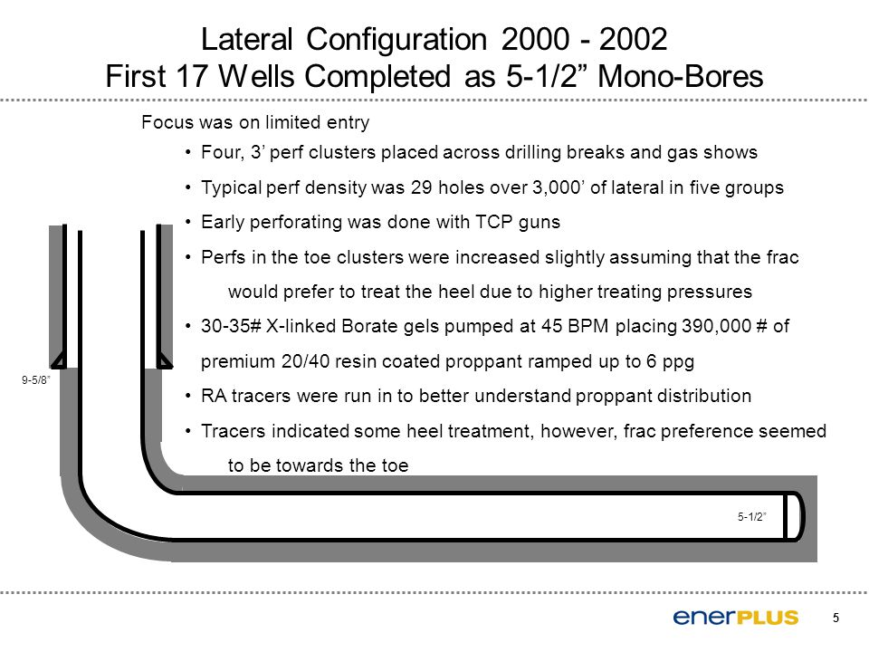 "5 Lateral Configuration 2000 - 2002 First 17 Wells Completed as 5-1/2"" Mono-Bores Focus was on limited entry Four, 3' perf clusters placed across dril"