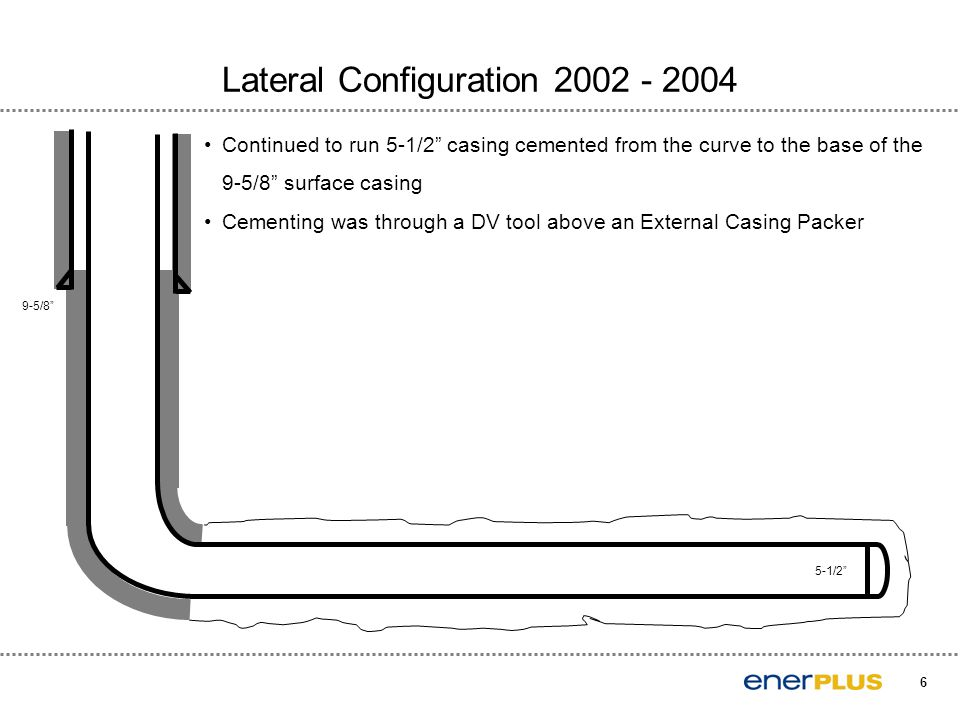 6 Lateral Configuration 2002 - 2004 5-1/2 Continued to run 5-1/2 casing cemented from the curve to the base of the 9-5/8 surface casing Cementing was through a DV tool above an External Casing Packer 9-5/8