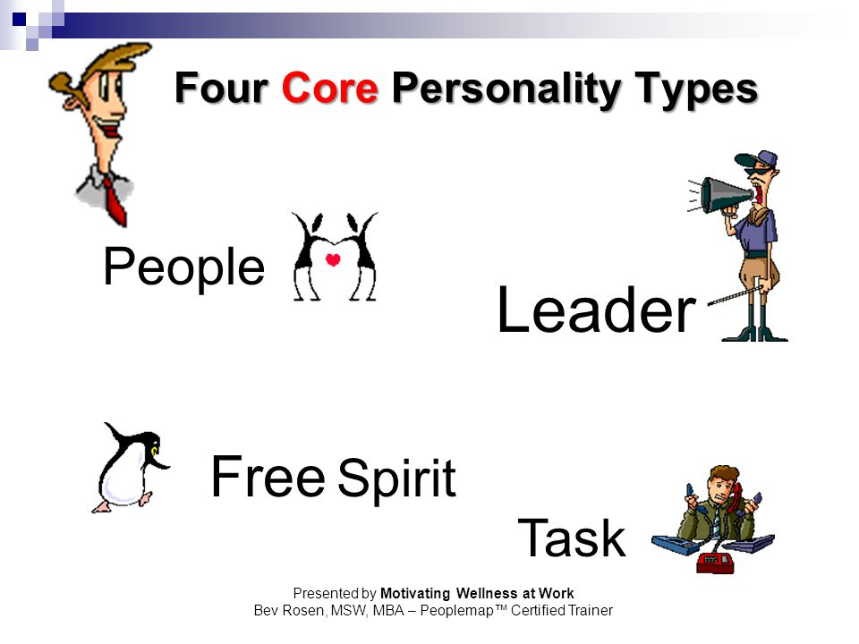 Presented by Motivating Wellness at Work Bev Rosen, MSW, MBA – Peoplemap™ Certified Trainer Four Core Personality Types Leader People Free Spirit Task