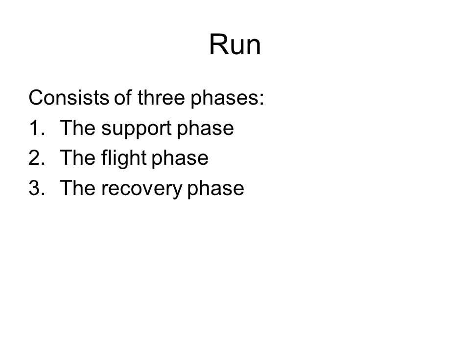 Run Consists of three phases: 1.The support phase 2.The flight phase 3.The recovery phase