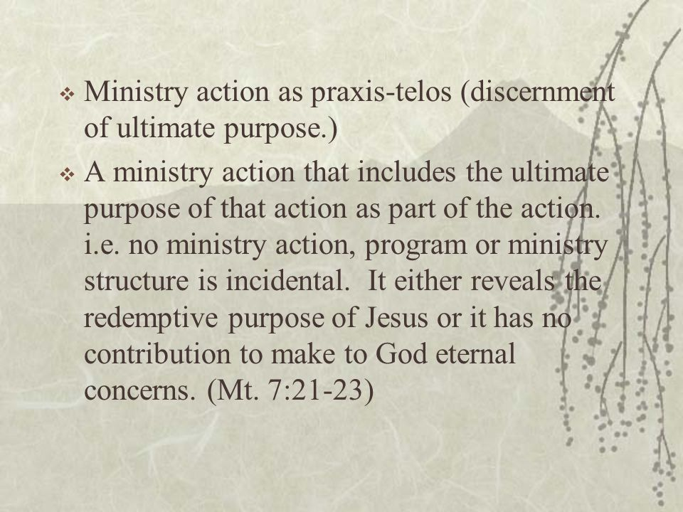  Ministry action as praxis-telos (discernment of ultimate purpose.)  A ministry action that includes the ultimate purpose of that action as part of the action.
