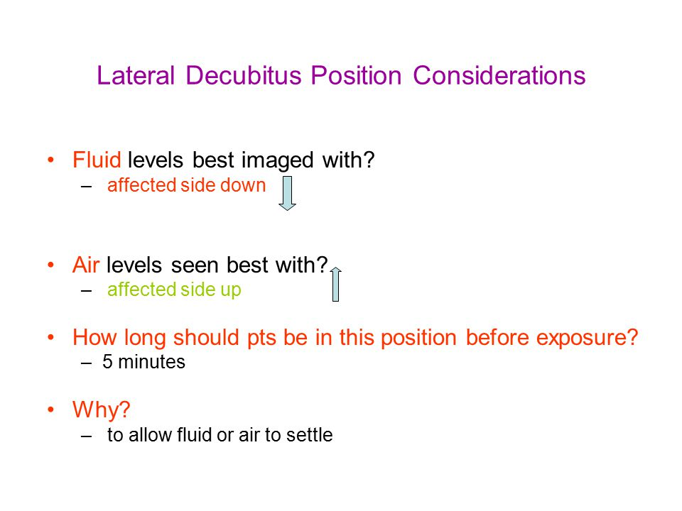 Lateral Decubitus Position Considerations Fluid levels best imaged with? – affected side down Air levels seen best with? – affected side up How long s