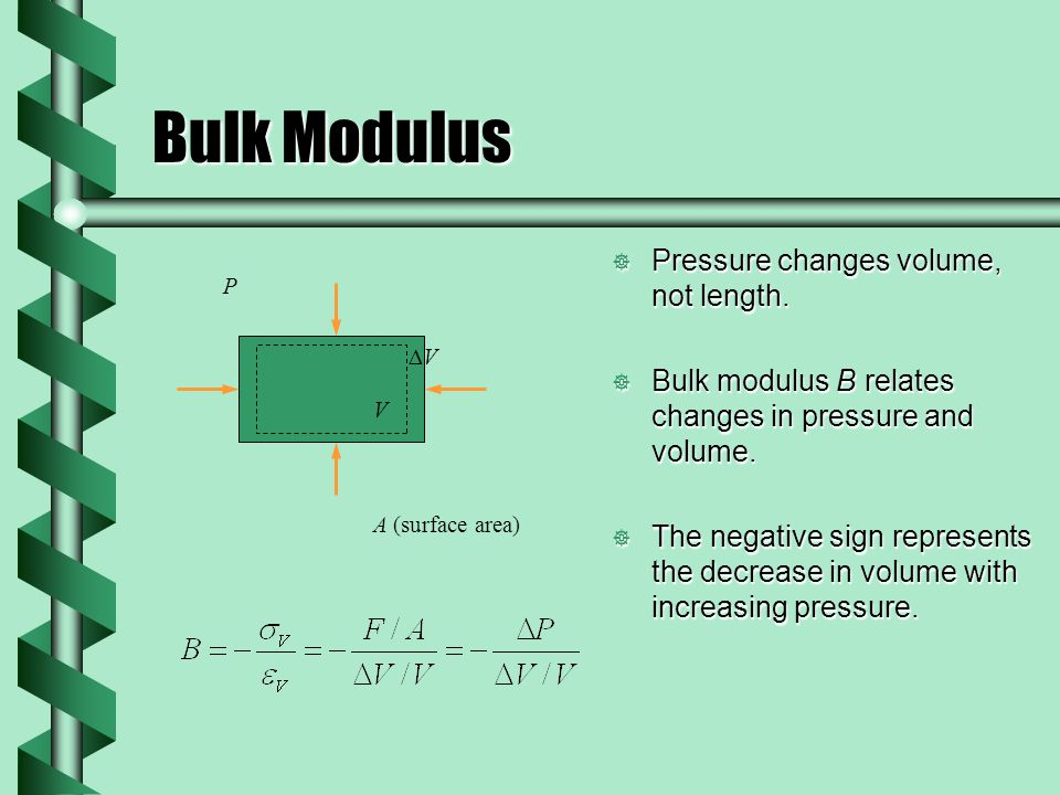 Bulk Modulus  Pressure changes volume, not length.