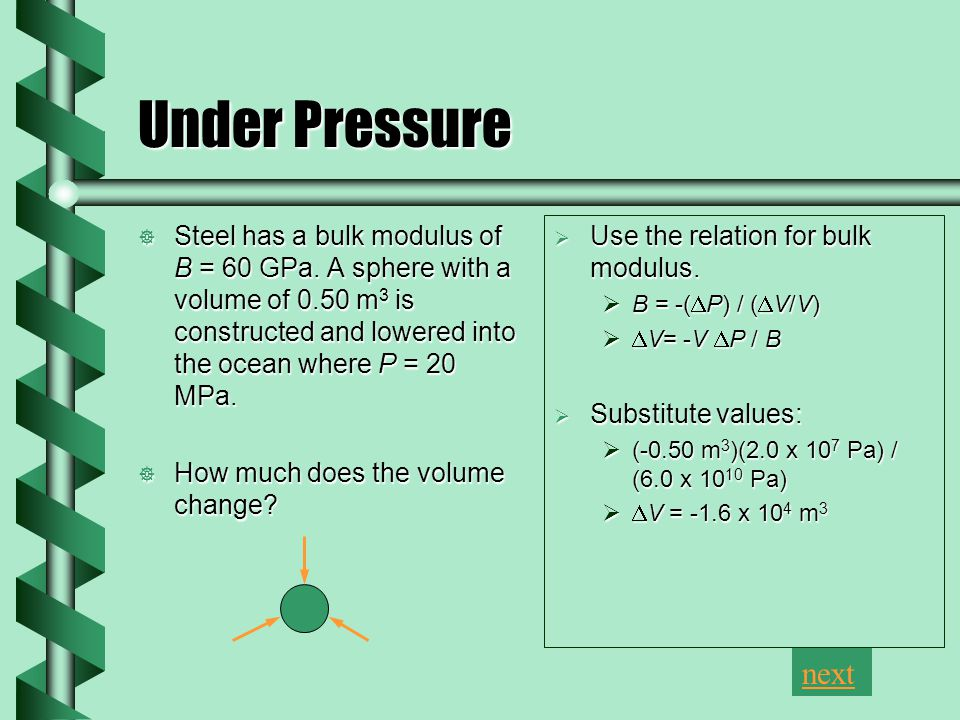 Under Pressure  Steel has a bulk modulus of B = 60 GPa.