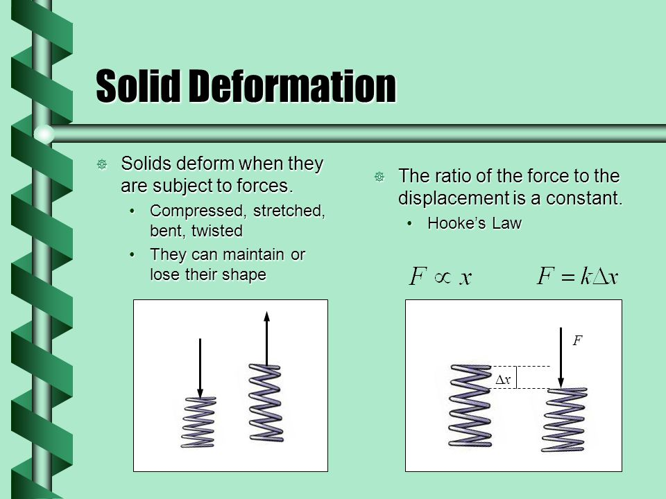 Solid Deformation  Solids deform when they are subject to forces.