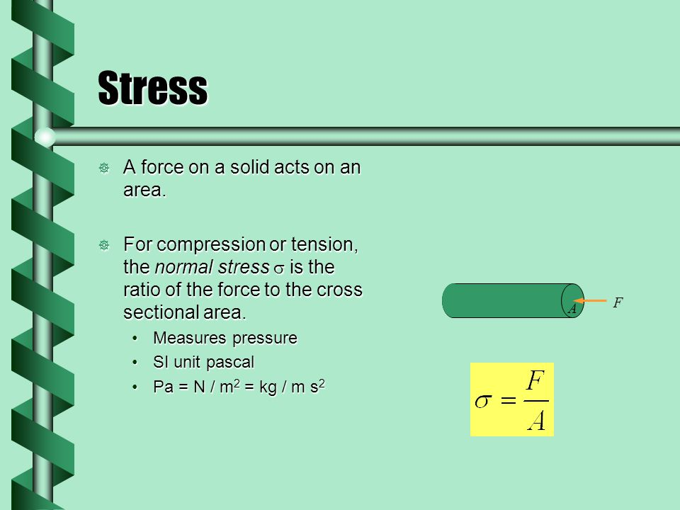 Stress  A force on a solid acts on an area.
