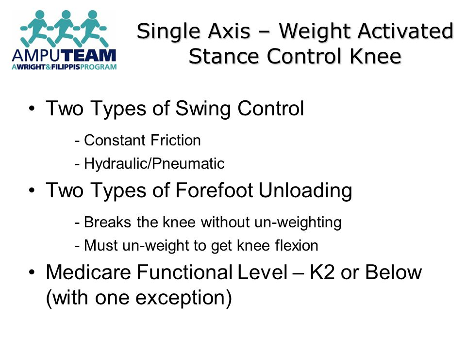 Two Types of Swing Control - Constant Friction - Hydraulic/Pneumatic Two Types of Forefoot Unloading - Breaks the knee without un-weighting - Must un-